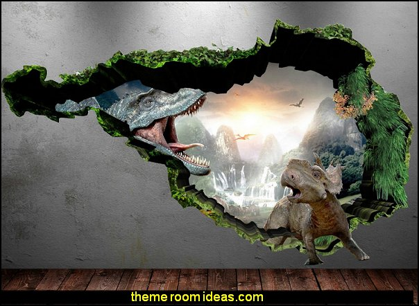3D Dinosaur Full Colour T-Rex Wall Art Sticker Boys Decal Mural Transfer Graphic