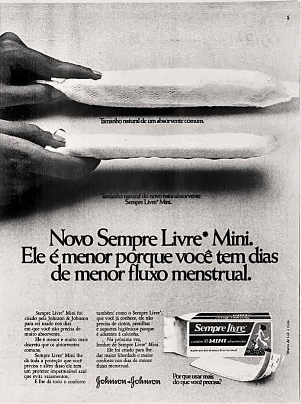 Propaganda antiga do absorvente Sempre Livre Mini em 1976