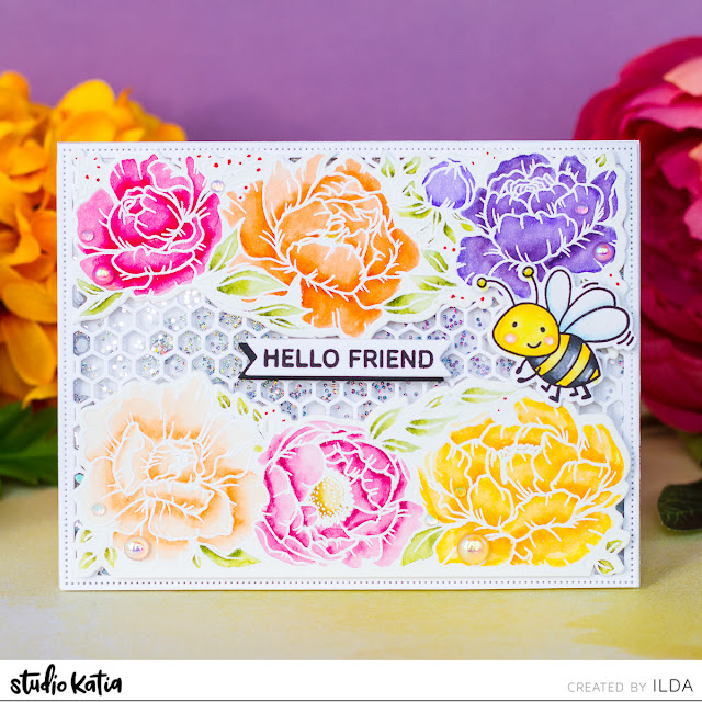 Peony Trimmings Hexagon Shaker Card | Studio Katia