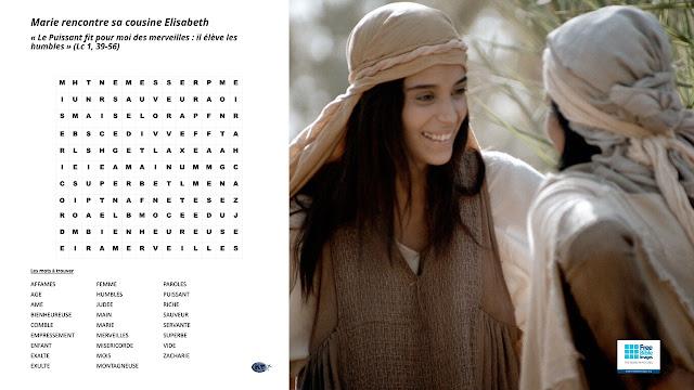 Mots cachés - Marie rencontre  Elisabeth selon Luc 1, 39-56 (la Visitation)