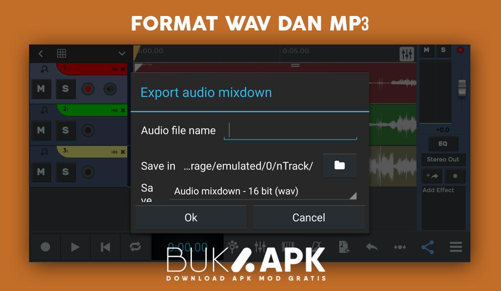 Format penyimpanan MP3 dan juga WAV