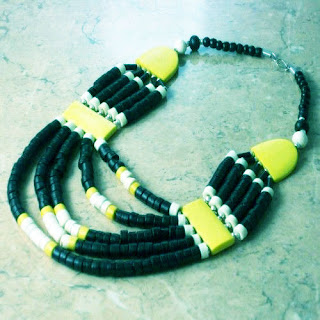 Yellow and black bone tribal necklace