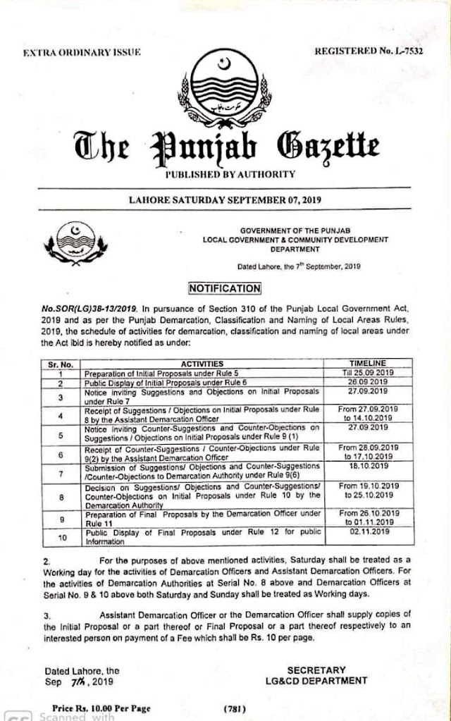 NOTIFICATION REGARDING TIMELINES FOR DEMARCATION, CLASSIFICATION AND NAMING OF LOCAL AREAS UNDER PUNJAB LOCAL GOVERNMENT ACT 2019
