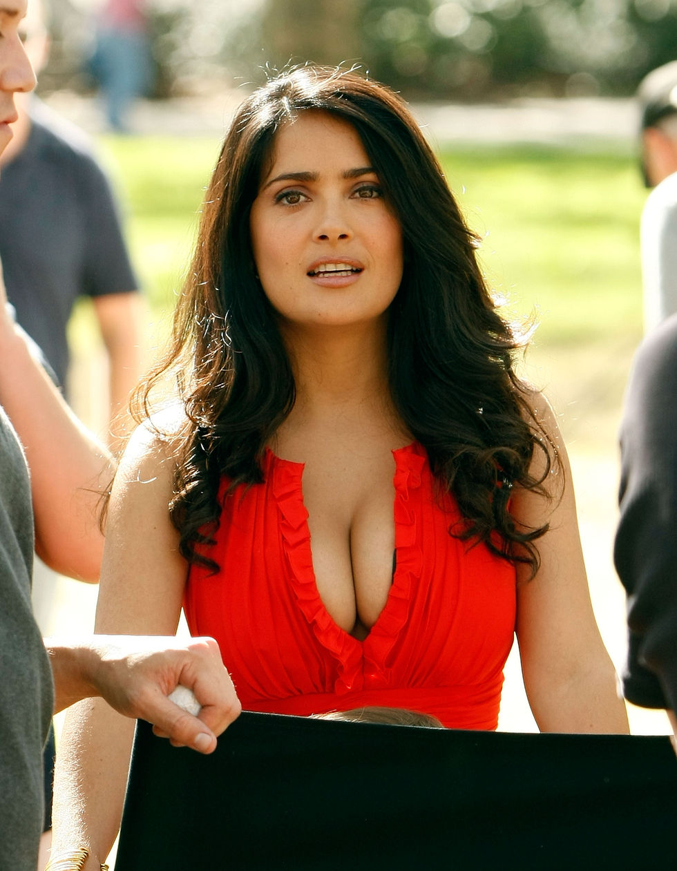 Mexican Actress Salma Hayek Hot In Red Dress