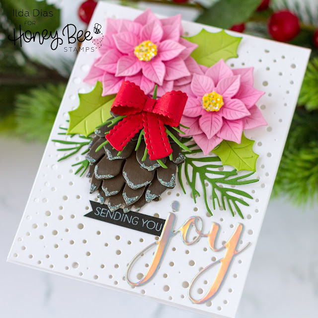 Winter Bouquet, Christmas in July Card,Honey Bee Stamps, Lovely Layers: Pinecone,Joy,Card Making, Stamping, Die Cutting, handmade card, ilovedoingallthingscrafty, Stamps, how to,