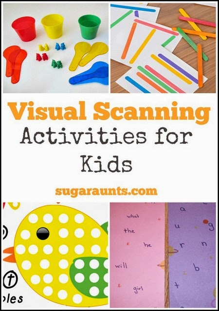 Use these visual scanning activities to help kids promote the sense of vision and its use in functional skills, perfect for visual scanning exercises through sensory activities in occupational therapy.