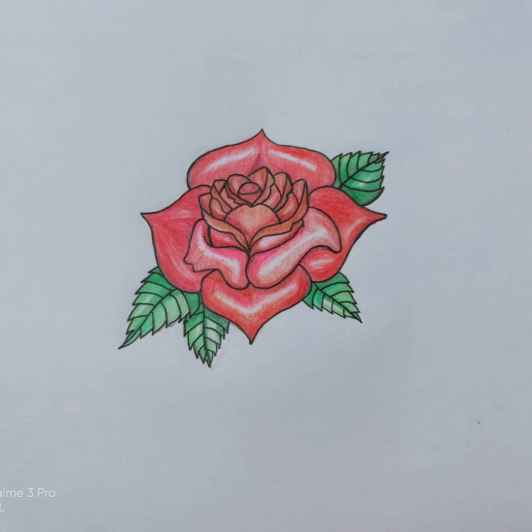 Tutorial Menggambar Dan Mewarnai Bunga Mawar Dengan 6 Pensil Warna Jafarull