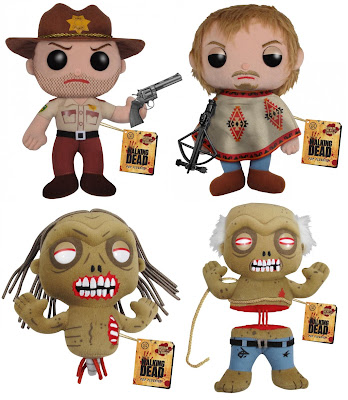 The Walking Dead Plush Figures by Funko - Rick Grimes, Daryl Dixon, Bicycle Girl Zombie & Well Zombie