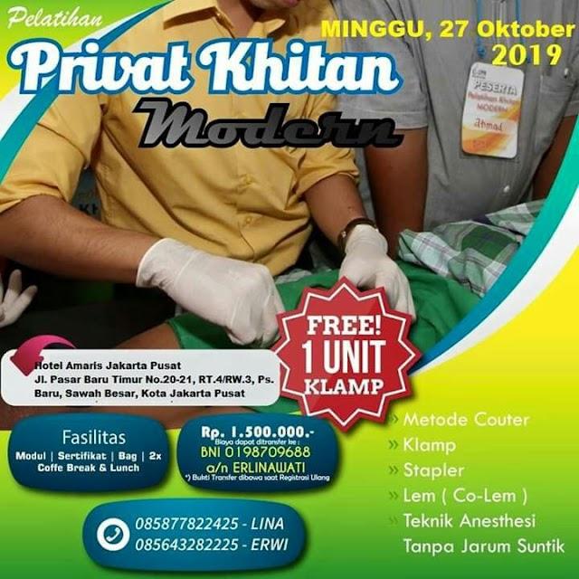 PELATIHAN PRIVAT KHITAN MODERN plus HIPNOSIRKUMSISI JAKARTA 27 OKTOBER 2019