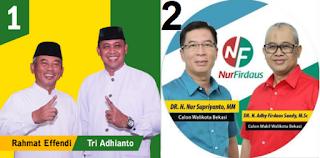 Dua pasang calon walikota dan wakil walikota Bekasi 2018