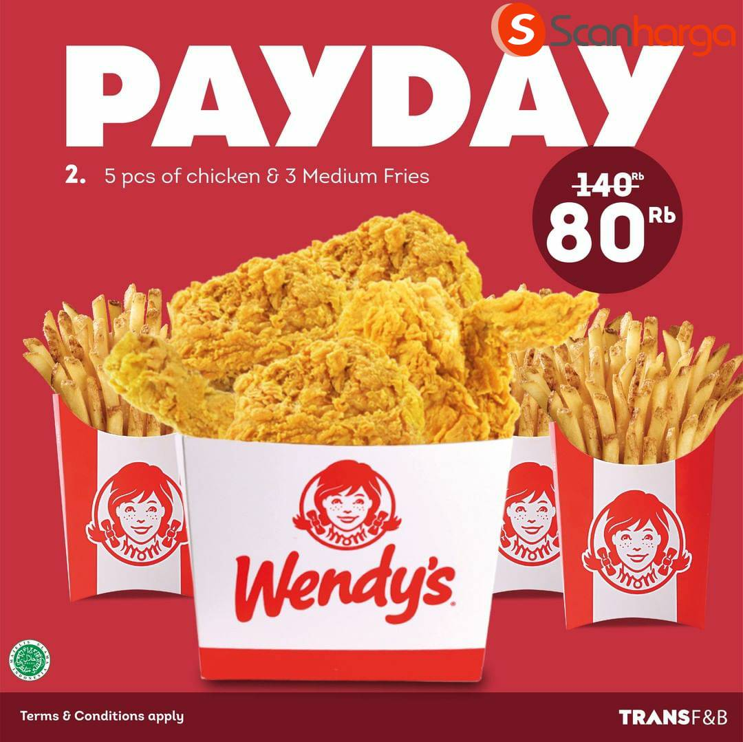 WENDY'S Promo PAYDAY – Harga Special Serba Rp 80.000 Per Paket