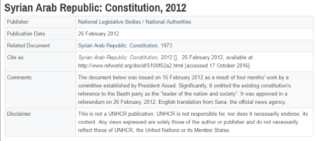 Syrian Arab Republic: Constitution, 2012