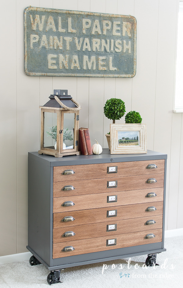 file cabinet with wood drawers and antique brass hardware