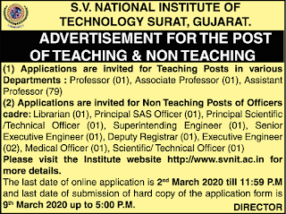 S.V. National Institute Of Technology  Assistant professor jobs 2020.