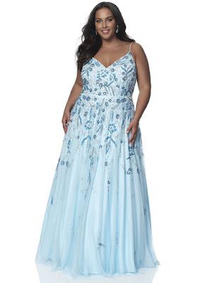v-neck A-line intrigue by blush plus size prom dress powder rose color