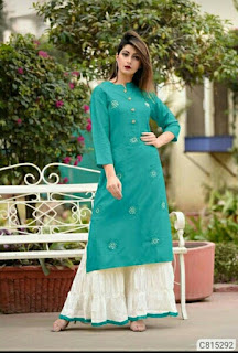 Elegant Rayon Embroidered with Button Straight Palazzo Sets