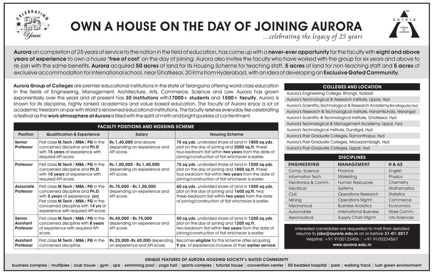 Aurora Group of Engineering Colleges, Hyderabad, Wanted Teaching ...