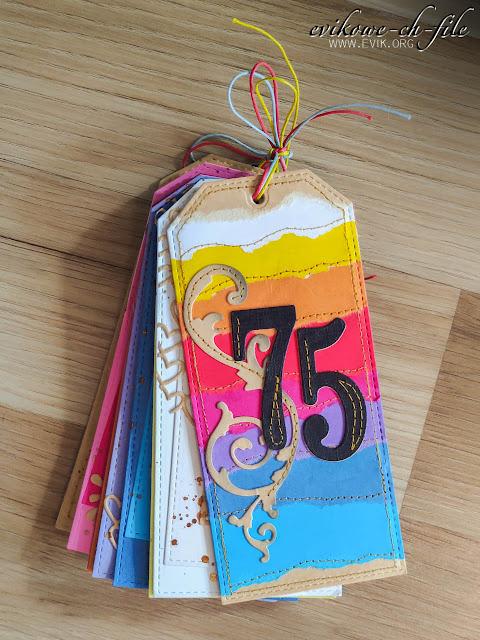 Ewa Jarlińska, Evik, rękodzieło, handmade card, 75 urodziny, tęczowa kartka, tęcza, rainbow cadr