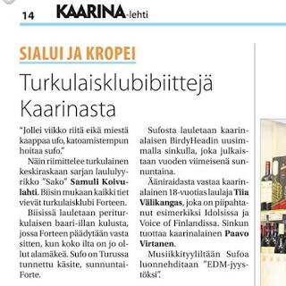 """Lehtijuttu Kaarina-lehdestä otsikolla: """"Turkulaisklubibiittejä Kaarinasta"""". Kerto EDM kappaleesta nimeltä """"SUFO""""."""
