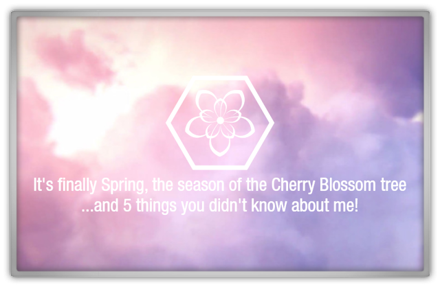 5 things you didn't know about me spring cherry blossom tag blog beauty blogger pantone colors clouds hexagon personal sharing