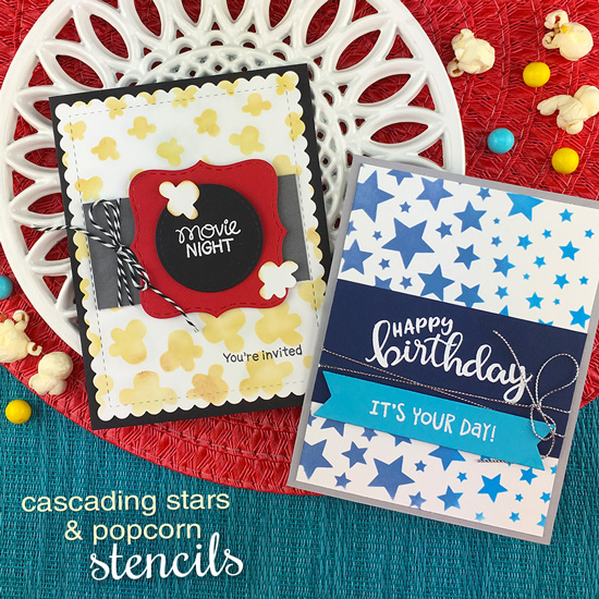 Movie Night Invitation and Star Birthday card by Jennifer Jackson | Newton's Movie Night Stamp Set, Birthday Essentials Stamp Set, Cascading Stars Stencil and Popcorn Stencil by Newton's Nook Designs #newtonsnook #handmade