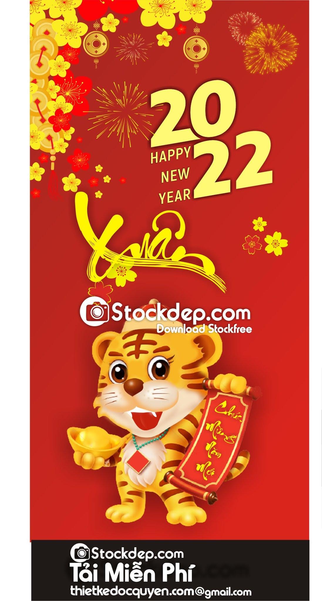 Vector con hổ in lịch tết miễn phí 2022