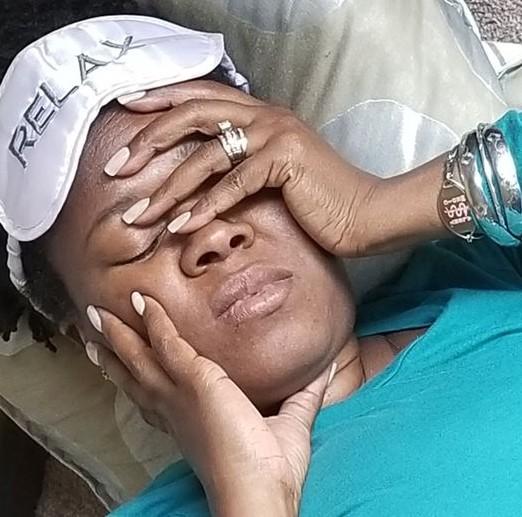 Migraine sufferer in immense pain