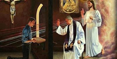 imagem de sacerdote ouvindo confissão