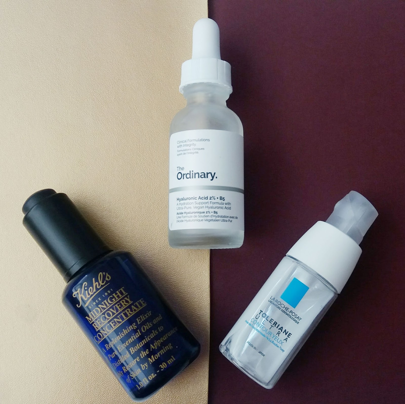 Kiehl's Midnight Recovery Concentrate, The Ordinary Hyaluronic Acid and La Roche Posay Toleraine Ultra Eye Cream