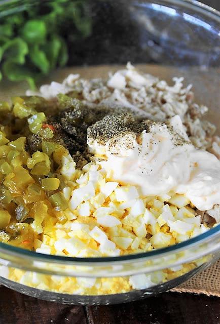 Southern Turkey Salad Ingredients in Mixing Bowl Image