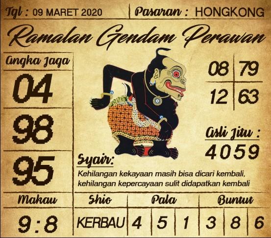 Prediksi HK Malam Ini Senin 09 Maret 2020 - Prediksi Gendam Perawan