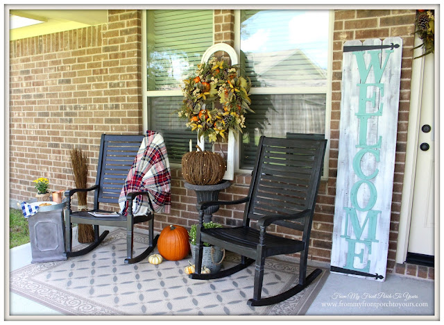 Fall-Porch-Balsam Hill-Wreath-Twig Pumpkin-Urn-Rocking Chair-From My Front Porch To Yours