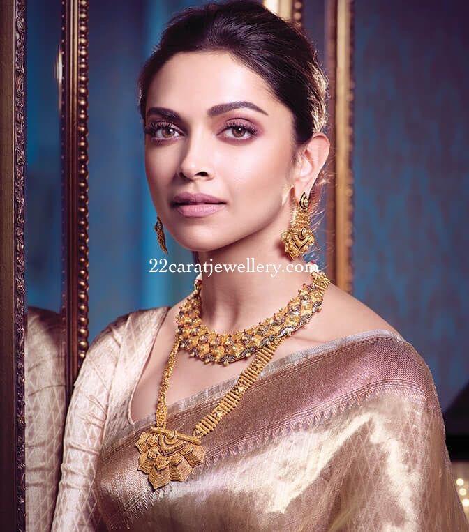 Deepika Padukone Antique Gold Sets - Jewellery Designs