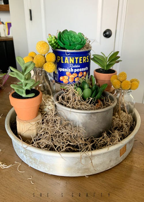 Summer Home Decor - tiered faux succulent display