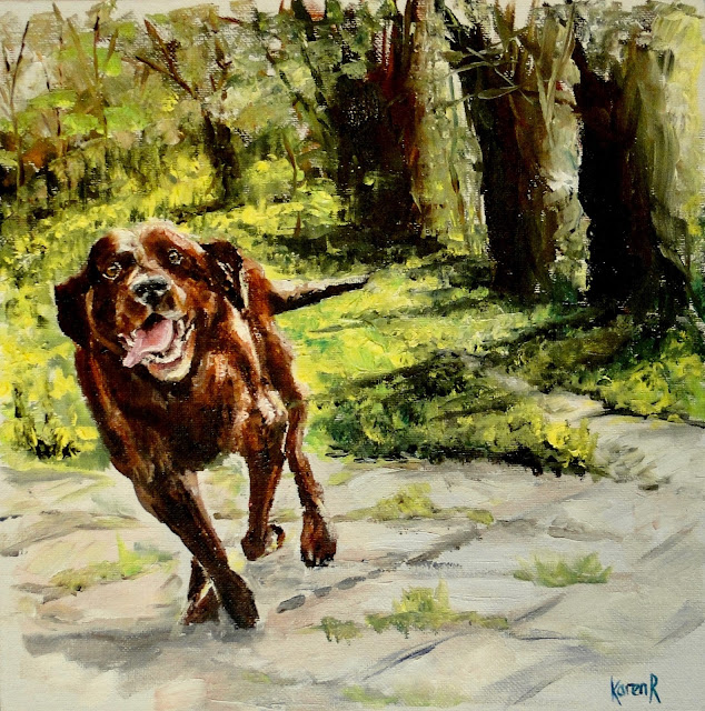 oil painting of a happy chocolate labrador running