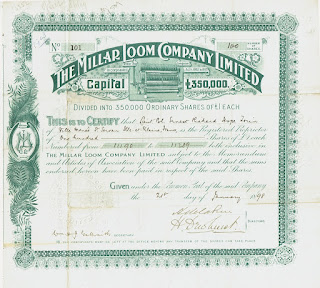 Millar Loom share certificate issued to Lieutenant-Colonel Enrnest Richard Hope Torin