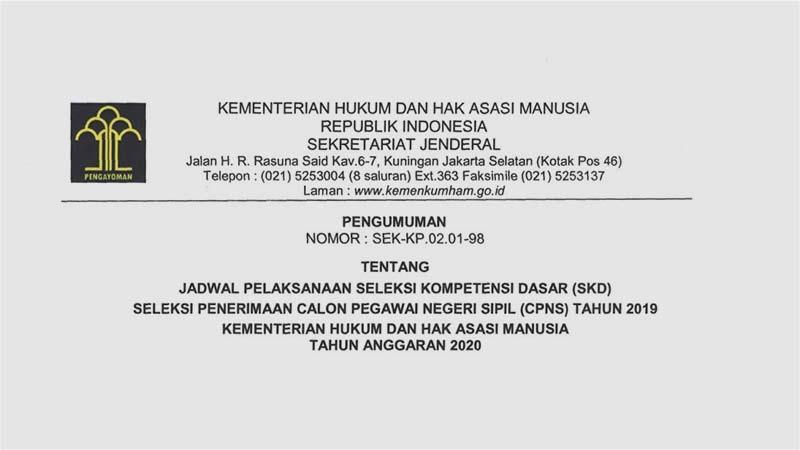 Inilah Jadwal dan Lokasi Ujian SKD CPNS Kemenkumham Seluruh Indonesia [Cek Nama Anda]