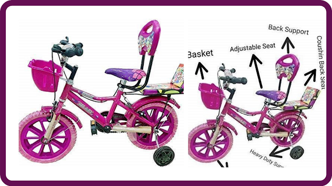Global Bikes Barbie 14T (Pink) Bicycle for 2 to 5 Years Old Fully Adjustable with Back Seat & Back Support for Boys and Girls