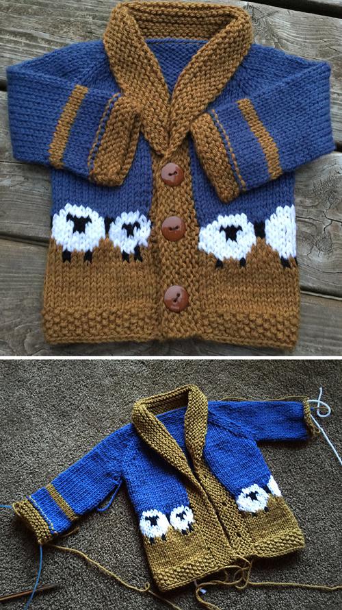 Baby Sophisti-Sheep Cardigan - Free Pattern