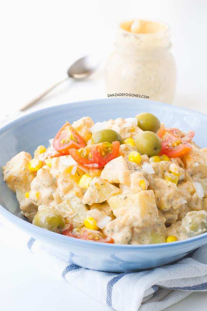 Potato salad with ranch sauce | danceofstoves.com