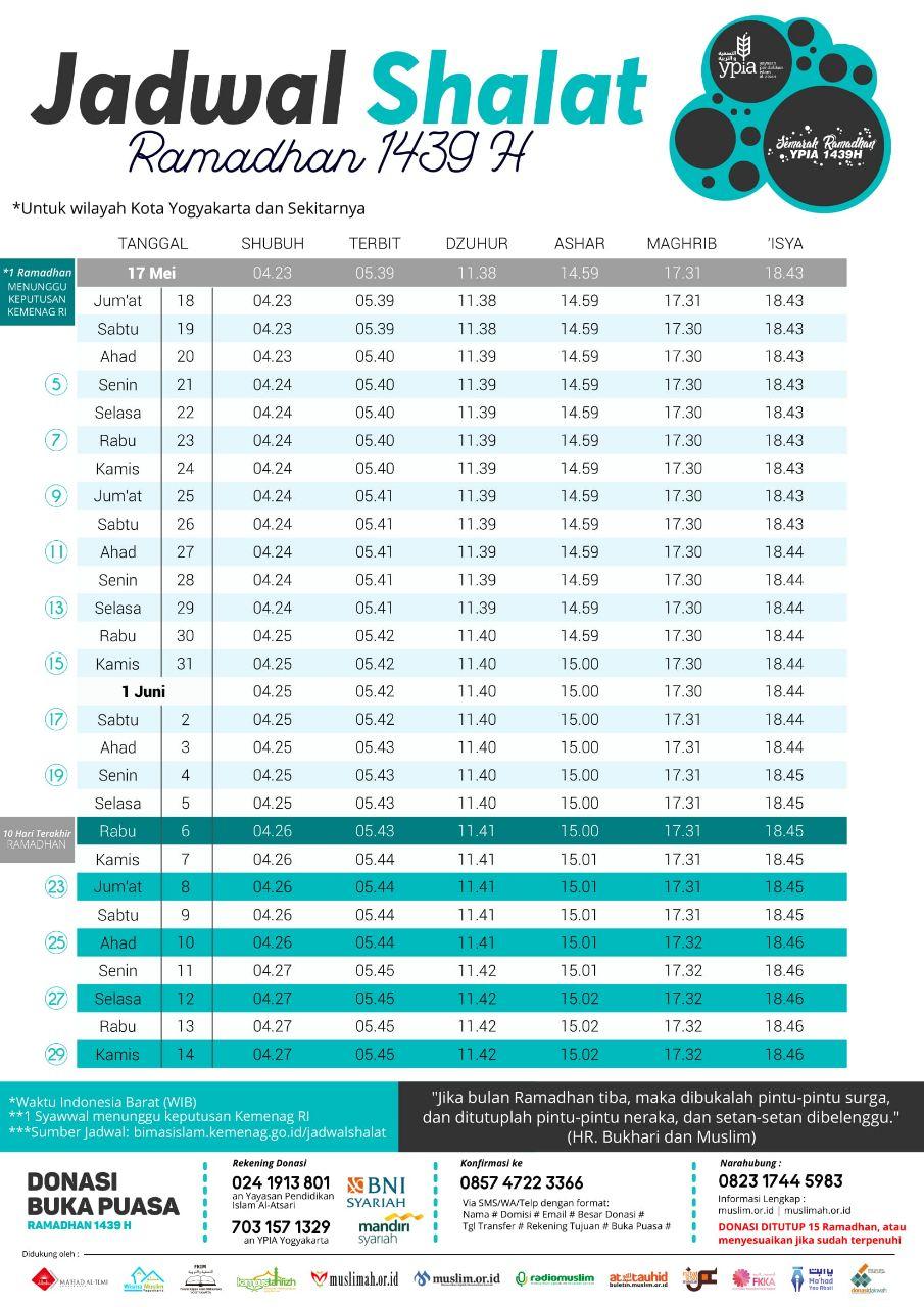 Jadwal Shalat Bulan Ramadhan 1439 H/2018 M - Kajian Jogja