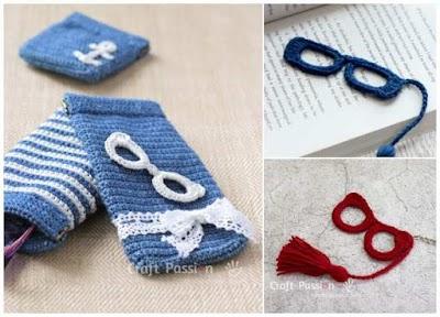 Apliques de gafas-anteojos en miniatura a crochet