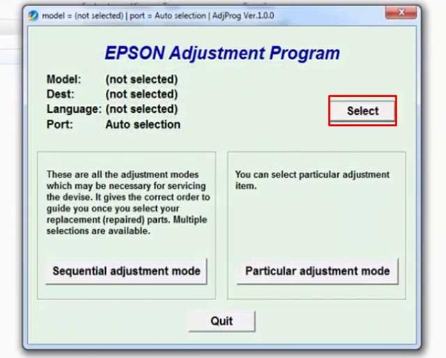seleccionar modelo impresora epson