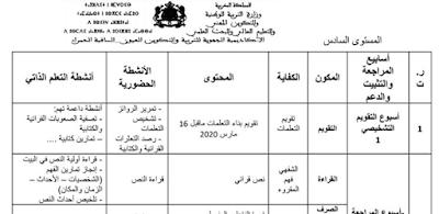 مضامين الأنشطة الحضورية و أنشطة التعلم الذاتي خلال أسابيع التقويم التشخيصي و الاستدراك المستوى السادس عربية