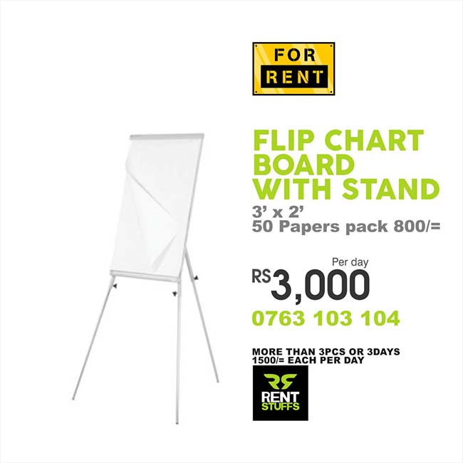 Flipchart Board with stand for rent in Sri Lanka.