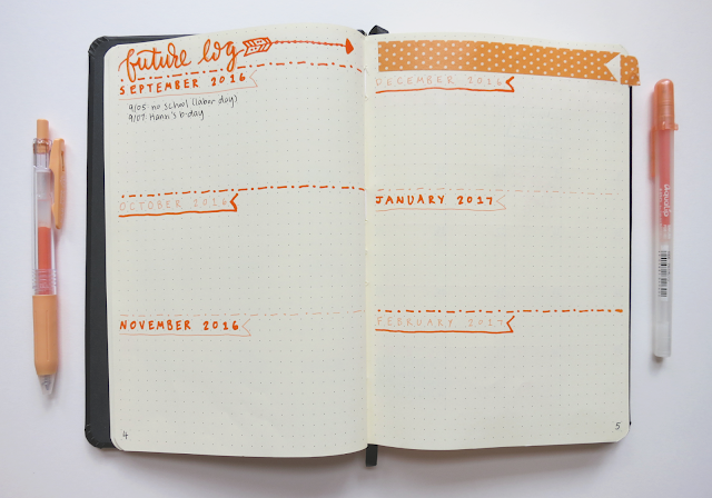 my bullet journal future log