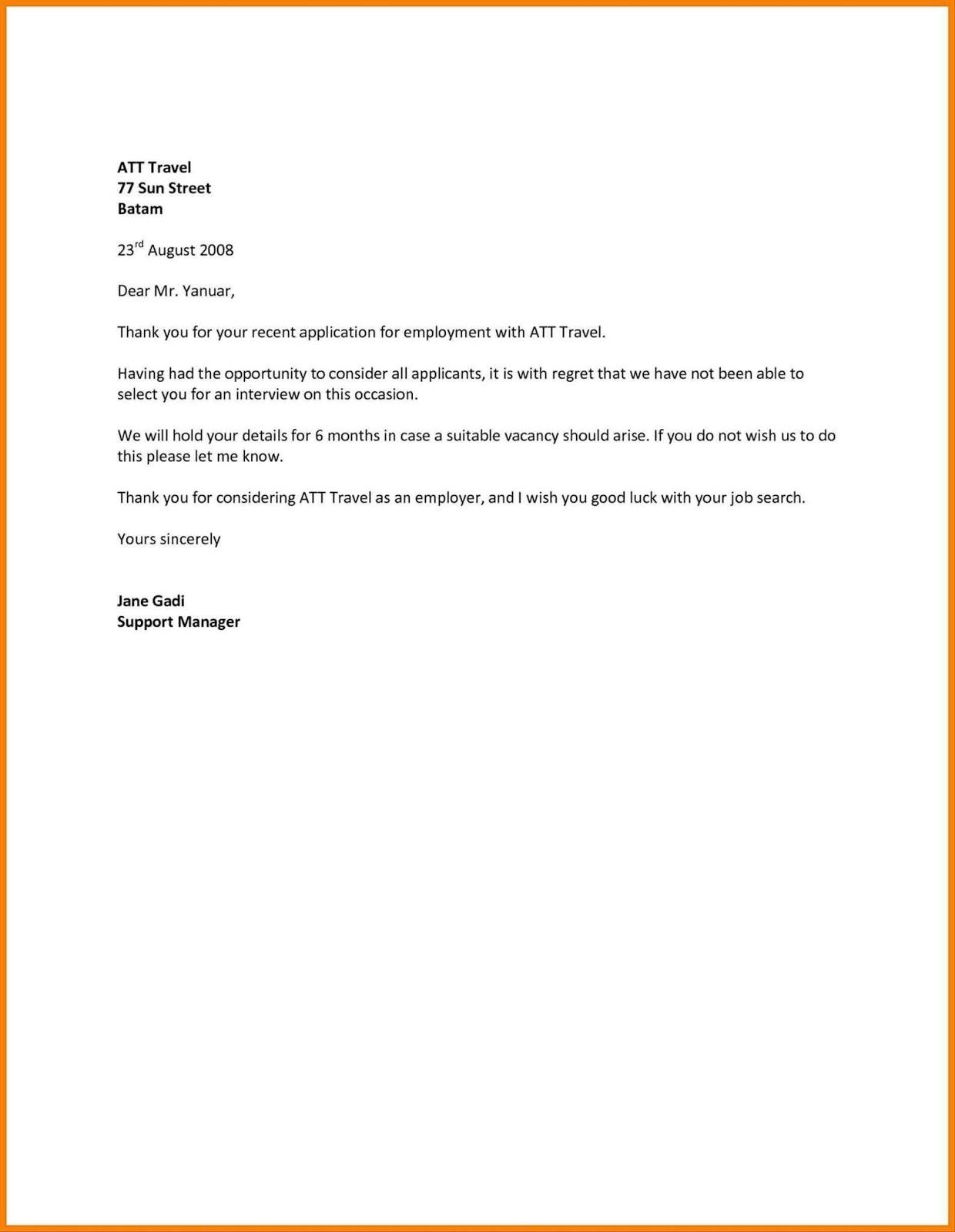 Job Application Refusal Letter  Confirmation Letter