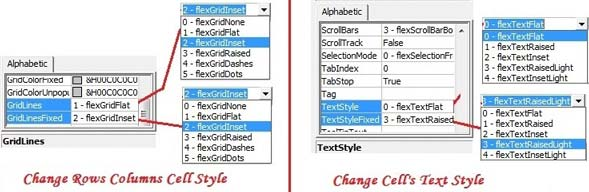 Grid and Text Settings for MshFlexGrid