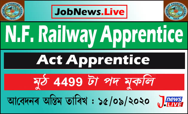 N.F. Railway Apprentice Recruitment 2020, Online Application For 4499 Vacancy