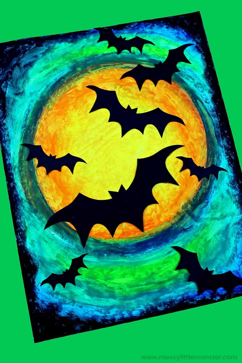 oil pastel Halloween bat craft
